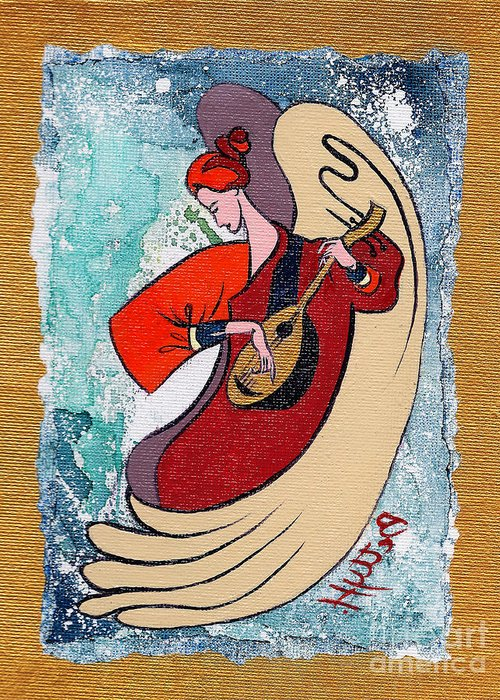 Angel Greeting Card featuring the painting Angel Playing For Us No2 by Elisabeta Hermann