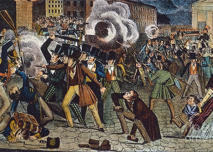 1844 Greeting Card featuring the photograph Anti-catholic Mob, 1844 by Granger