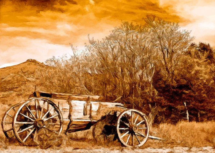 Antique Wagon Greeting Card featuring the painting Antique Wagon by Bob and Nadine Johnston