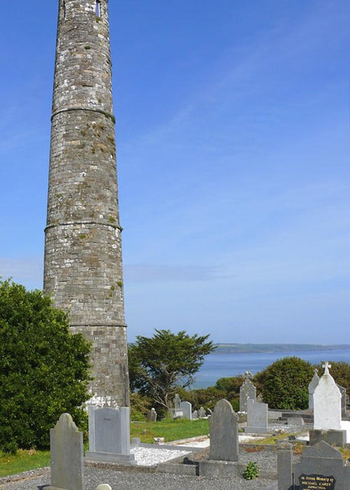 Ardmore Round Tower Greeting Card featuring the photograph Ardmore Round Tower - Ireland by Mike McGlothlen