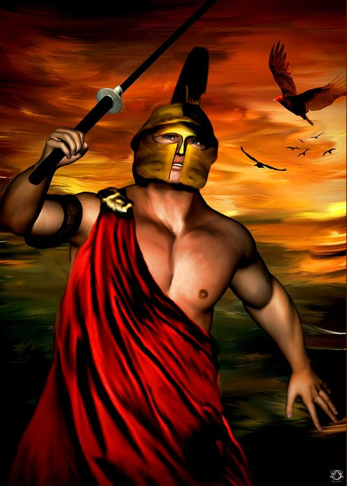 Ares Greeting Card featuring the digital art Ares by Lourry Legarde