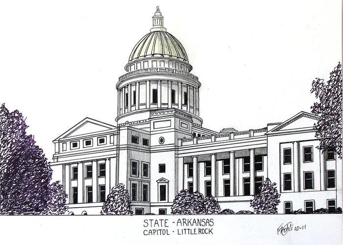 State Capitol Buildings Drawings Greeting Card featuring the drawing Arkansas State Capitol by Frederic Kohli