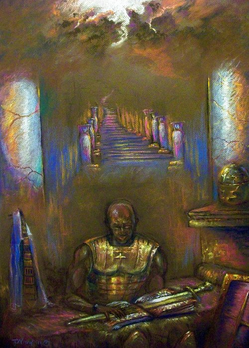 Heaven Greeting Card featuring the pastel Armor Of God by Tommy Winn