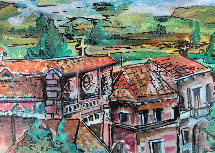 Assisi Greeting Card featuring the painting Assisi Italy by Mindy Newman