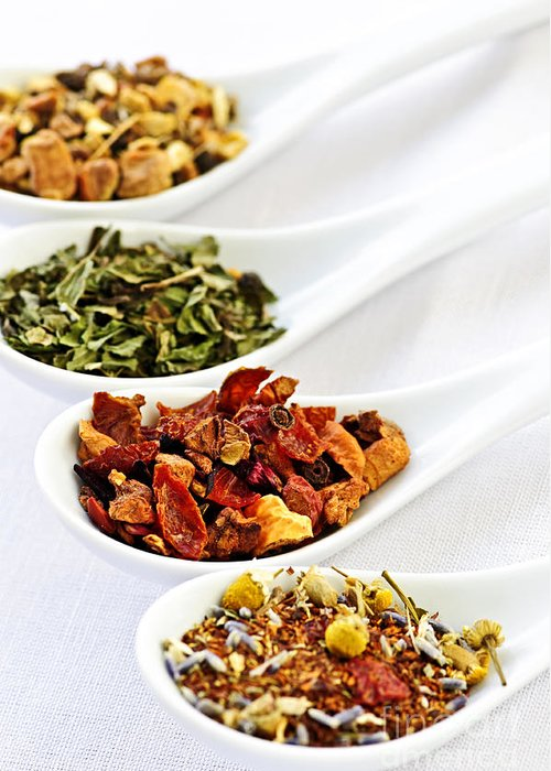 Tea Greeting Card featuring the photograph Assorted Herbal Wellness Dry Tea In Spoons by Elena Elisseeva