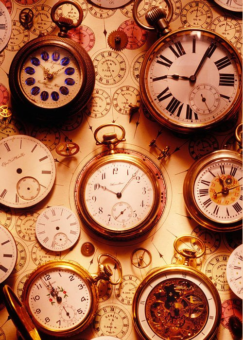 Time Greeting Card featuring the photograph Assorted Watches On Time Chart by Garry Gay