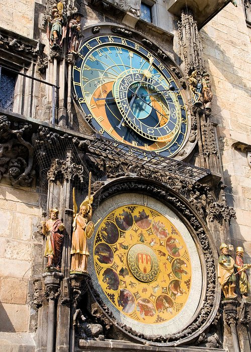 Architecture Greeting Card featuring the photograph Astronomical Clock In Prague by Artur Bogacki