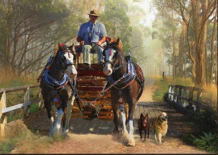 Horse Greeting Card featuring the photograph At Durdidwarrah Crossing by Trudi Simmonds
