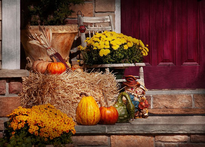 Pumpkins Greeting Card featuring the photograph Autumn - Gourd - Autumn Preparations by Mike Savad