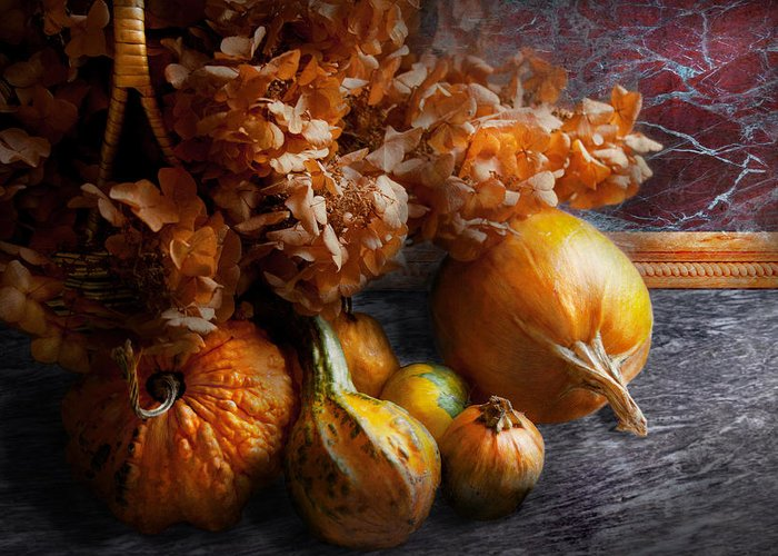 Pumpkin Greeting Card featuring the photograph Autumn - Gourd - Still Life With Gourds by Mike Savad