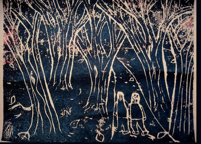 Linoleum Cut Print Greeting Card featuring the relief Autumn Night Hike by Ward Smith