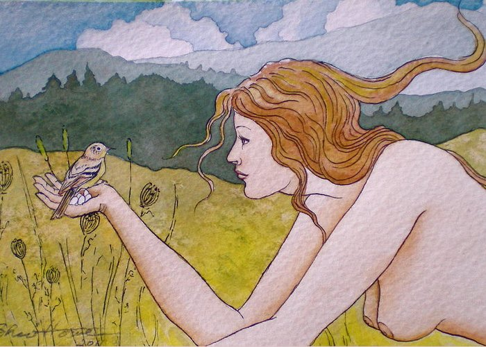 Woman Art Greeting Card featuring the painting Autumn by Sheri Howe