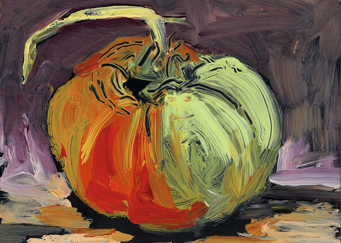 Tomato Greeting Card featuring the painting Autumn Tomato by Scott Bennett