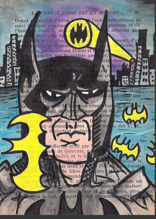 Bat Greeting Card featuring the painting B-man by Jera Sky