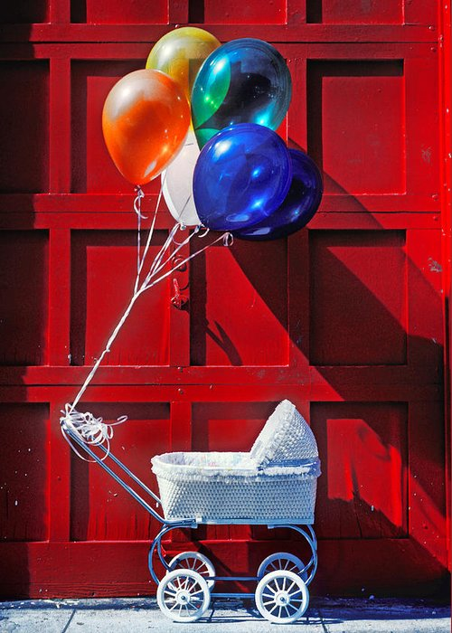 Baby Buggy Balloons Greeting Card featuring the photograph Baby Buggy With Balloons by Garry Gay