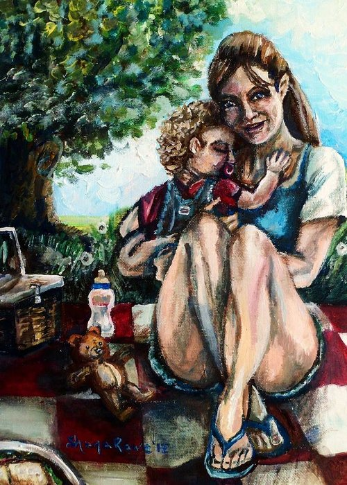 Mom Greeting Card featuring the painting Baby's First Picnic by Shana Rowe Jackson