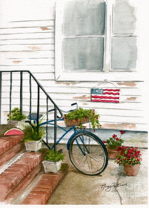 Watercolor Greeting Card featuring the painting Back Step by Nancy Patterson