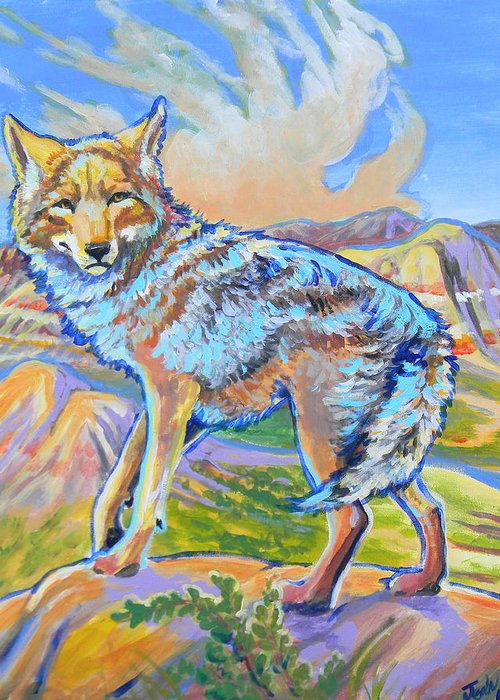 Coyote Greeting Card featuring the painting Badland Coyote by Jenn Cunningham