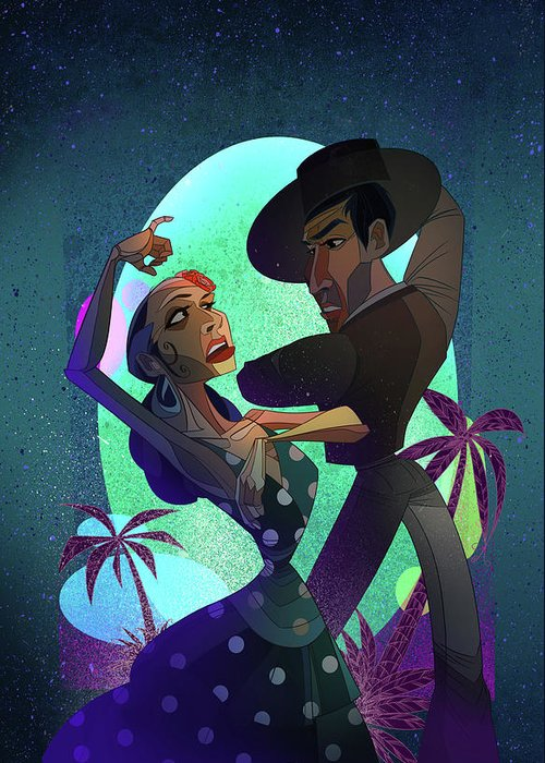 Flamenco Greeting Card featuring the digital art Baile De Amor by Nelson Dedos Garcia