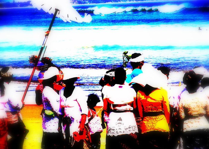 Bali Greeting Card featuring the photograph Balinese Beach Funeral by Funkpix Photo Hunter