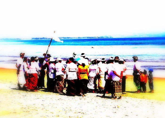 Bali Greeting Card featuring the photograph Balinese Beach In Mourning by Funkpix Photo Hunter