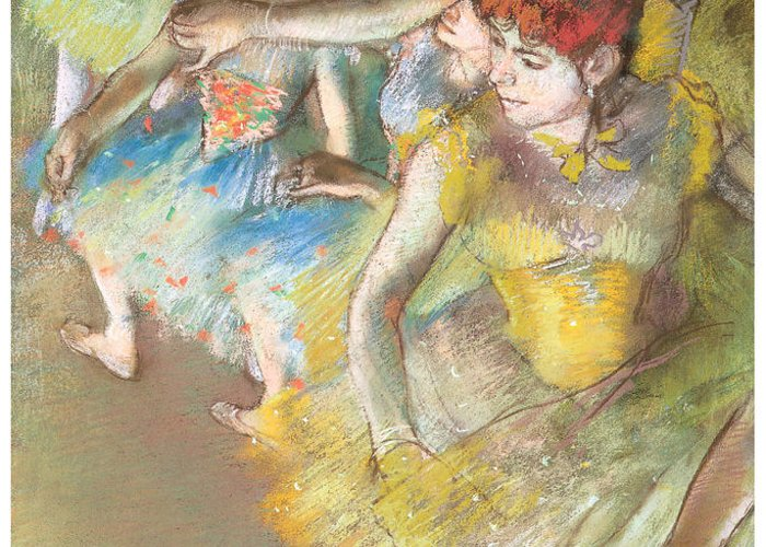 Ballet Dancers On The Stage Greeting Card featuring the pastel Ballet Dancers On The Stage by Edgar Degas