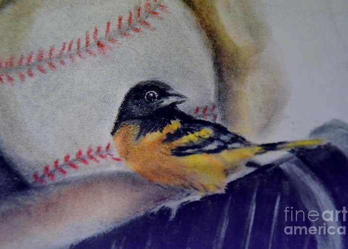 Oriole Greeting Card featuring the drawing Baltimore Orioles by AE Hansen