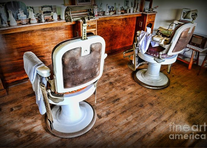 Barber - The Barber's Chair Greeting Card featuring the photograph Barber - The Barber Shop 2 by Paul Ward
