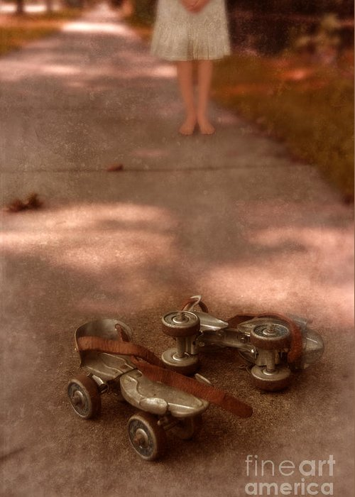 Barefoot Greeting Card featuring the photograph Barefoot Girl On Sidewalk With Roller Skates by Jill Battaglia