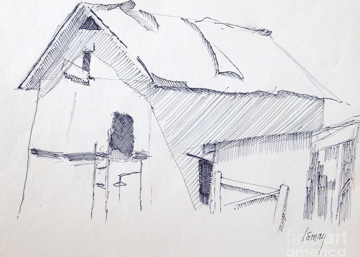 Barn Greeting Card featuring the drawing Barn 3 by Rod Ismay