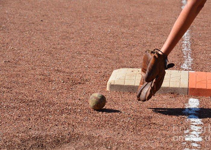 Baseball Greeting Card featuring the photograph baseball and Glove by Randy J Heath