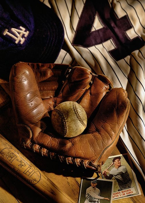 Glove Greeting Card featuring the photograph Baseball by Bob Nardi