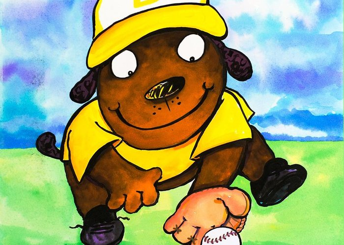 Dog Greeting Card featuring the painting Baseball Dog 3 by Scott Nelson