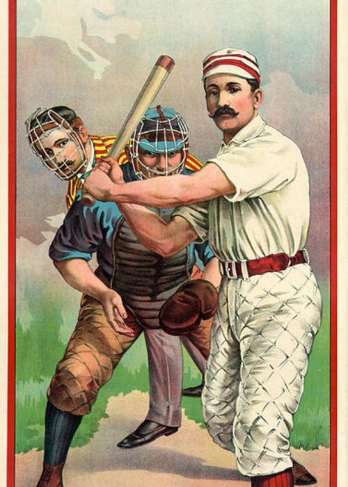 1895 Greeting Card featuring the photograph Baseball Player, C1895 by Granger