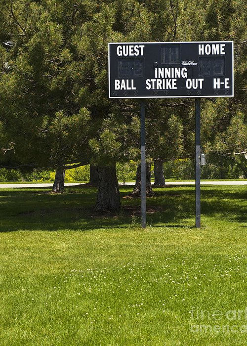 Baseball Greeting Card featuring the photograph Baseball Scoreboard by Thom Gourley/Flatbread Images, LLC