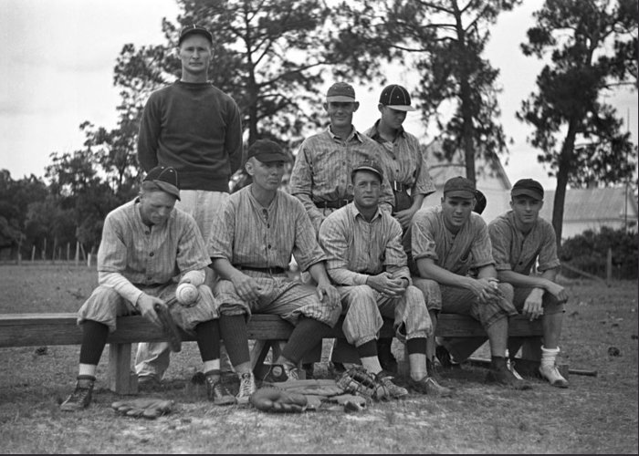 1938 Greeting Card featuring the photograph Baseball Team, 1938 by Granger