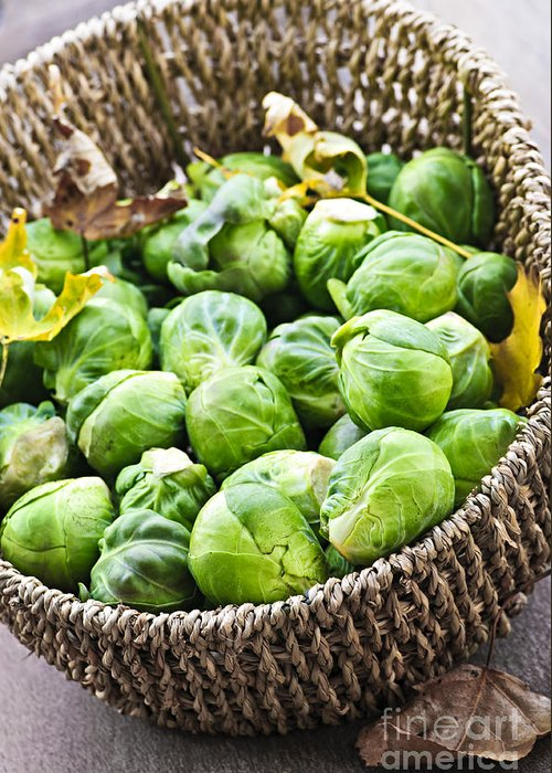 Brussels Sprouts Greeting Card featuring the photograph Basket Of Brussels Sprouts by Elena Elisseeva