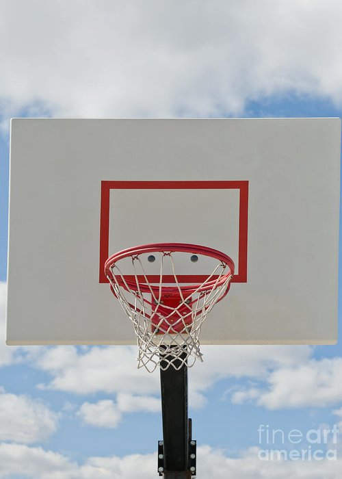 Backboard Greeting Card featuring the photograph Basketball Backboard With Hoop And Net by Thom Gourley/Flatbread Images, LLC