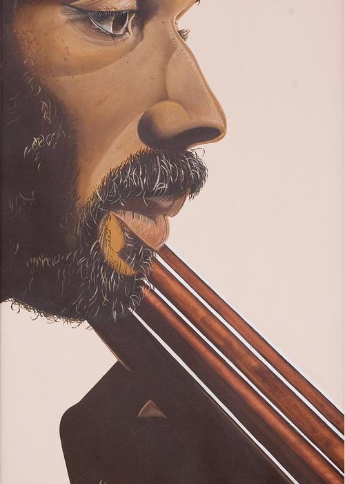 Playing; Musician; Player; African-american; Music; Male; Portrait; Close-up; Moustache; Beard; Profile; Musical Instruments; Double Bass; African American; Black Art; Bass Greeting Card featuring the painting Bass Player Iv by Kaaria Mucherera