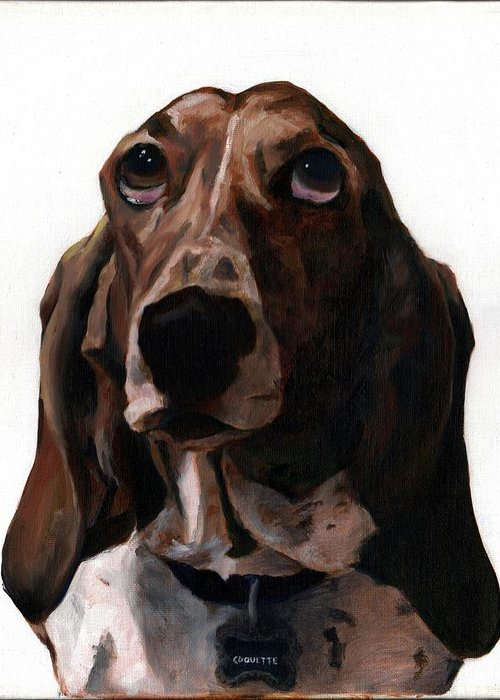Basset Hound Greeting Card featuring the painting Basset Hound Named Coquette by Thomas Weeks
