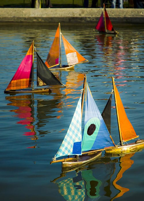 Sailboat Greeting Card featuring the photograph Bateaux Jouets by Beth Riser