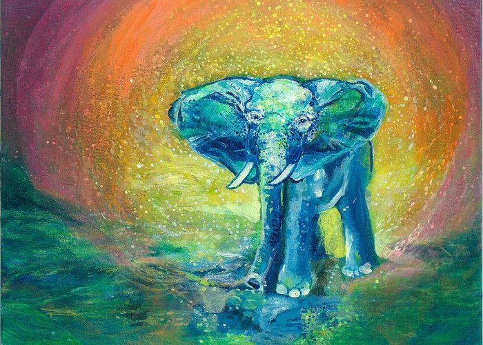 Elephant Greeting Card featuring the painting Bathe Me In Thy Light by Ashleigh Dyan Bayer