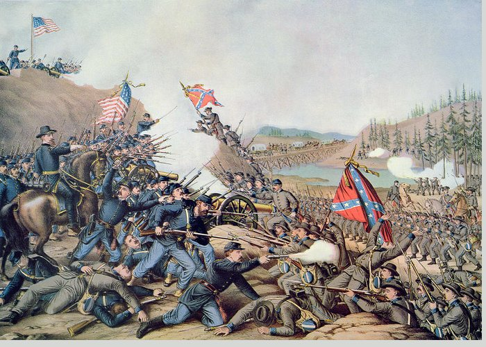 Battle Of Franklin Greeting Card featuring the painting Battle Of Franklin November 30th 1864 by American School