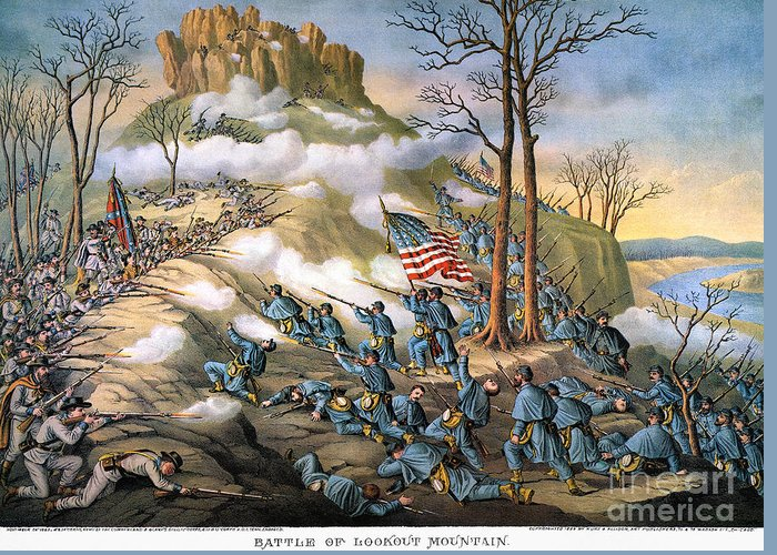 1863 Greeting Card featuring the photograph Battle Of Lookout Mount by Granger