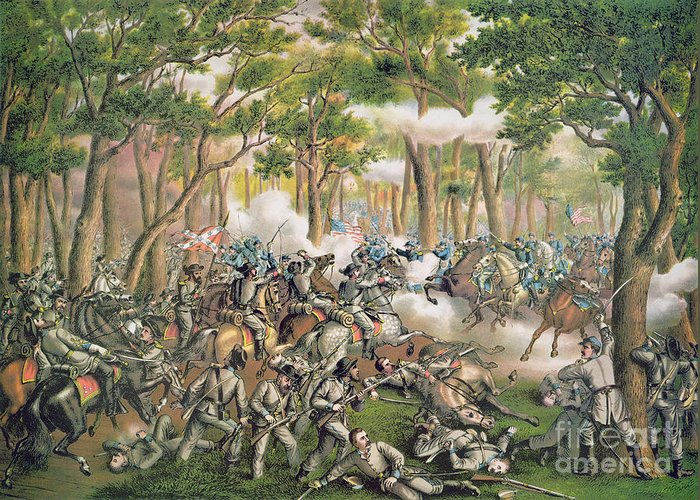 Troops; Soldiers; Army; Engagement; Woodland; Rural; Cavalry; Horseback; U S; U S A; Forces; Engaging; Gunfire; Fallen; Wounded Greeting Card featuring the painting Battle Of The Wilderness May 1864 by American School