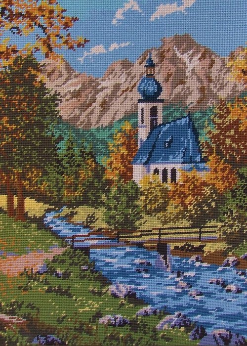 Bavarian Greeting Card featuring the tapestry - textile Bavarian Country by M and L Creations Craft Boutique