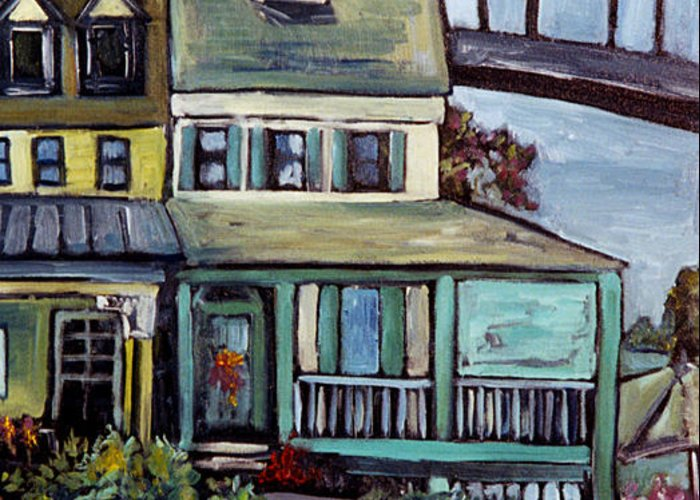Charming Town Greeting Card featuring the painting Bayard House In Chesapeake City by Carol Mangano