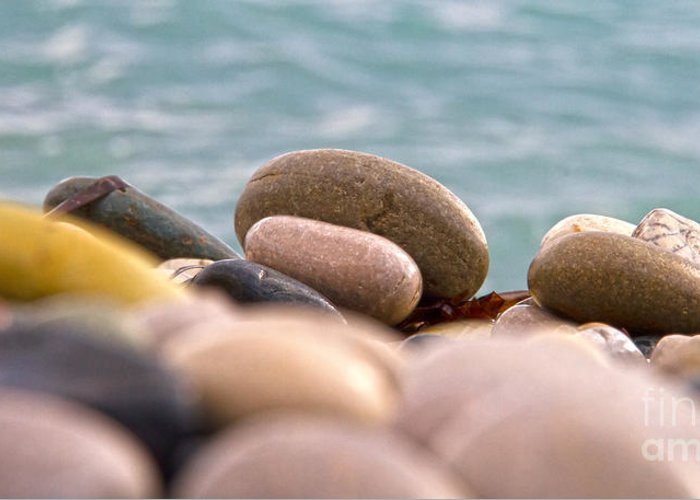 Abstract Greeting Card featuring the photograph Beach And Stones by Stelios Kleanthous