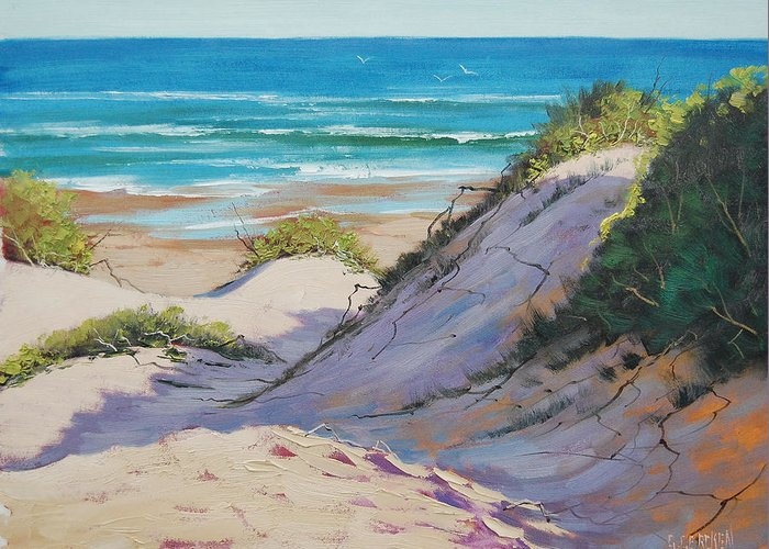 Seascape Greeting Card featuring the painting Beach Dunes by Graham Gercken