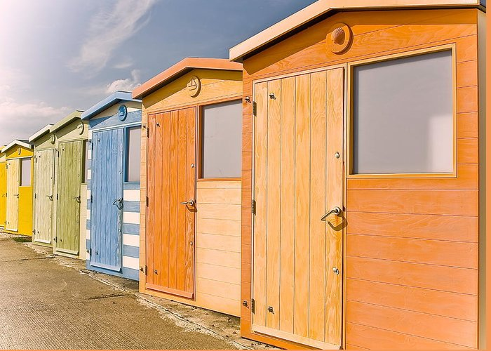 Beach Greeting Card featuring the photograph Beach Huts by Phil Clements